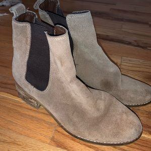 Suede tan ankle booties